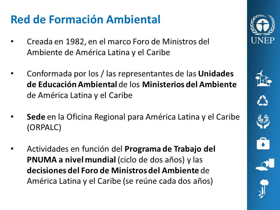 Red de Formación Ambiental Creada en 1982, en el marco Foro de Ministros del Ambiente de América Latina y el Caribe Conformada por los / las represent