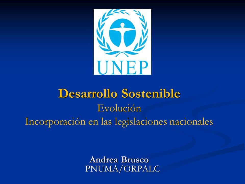 Desarrollo Sostenible Evolución Incorporación en las legislaciones nacionales Andrea Brusco PNUMA/ORPALC