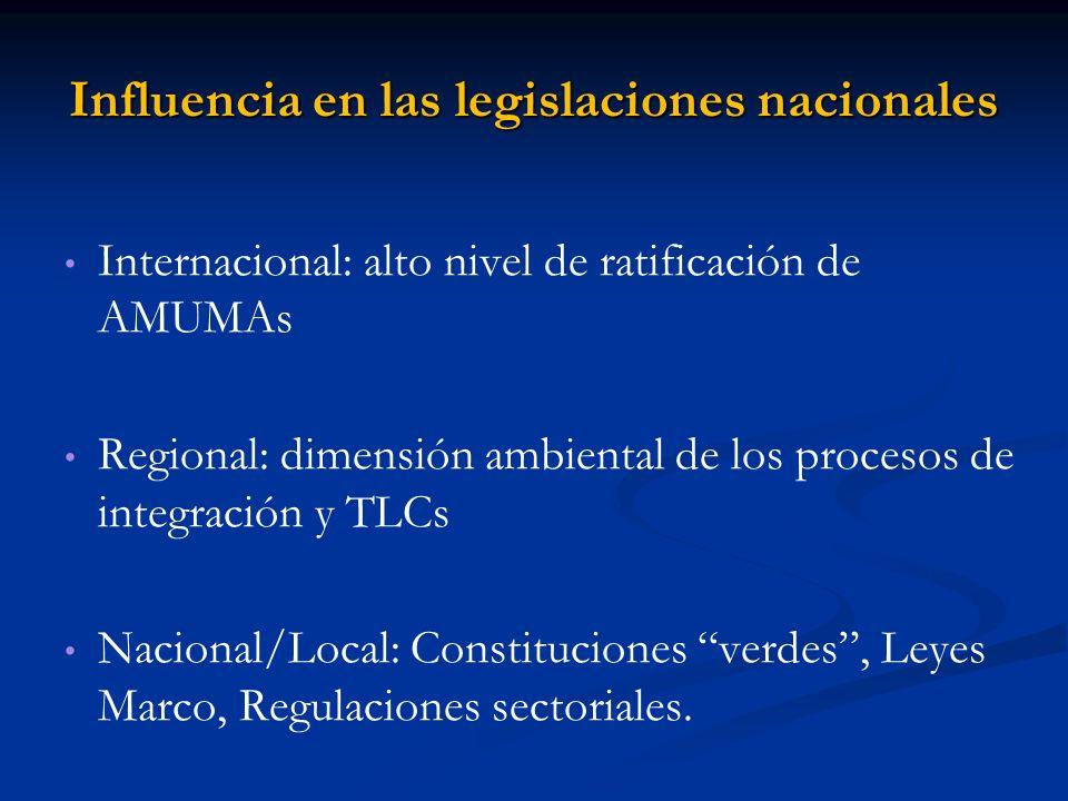 Influencia en las legislaciones nacionales Internacional: alto nivel de ratificación de AMUMAs Regional: dimensión ambiental de los procesos de integr