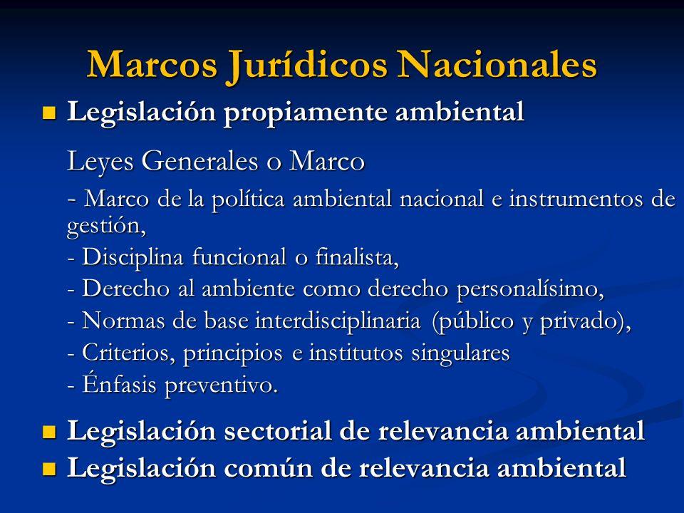 Marcos Jurídicos Nacionales Legislación propiamente ambiental Legislación propiamente ambiental Leyes Generales o Marco - Marco de la política ambient