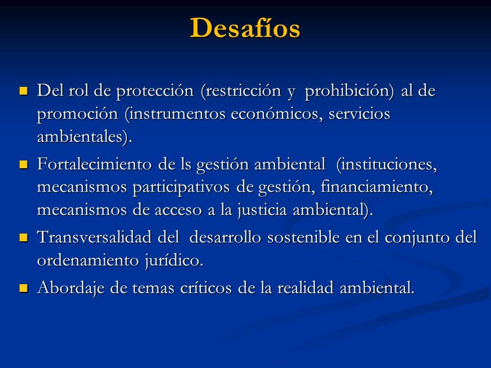 Desafíos Del rol de protección (restricción y prohibición) al de promoción (instrumentos económicos, servicios ambientales). Del rol de protección (re