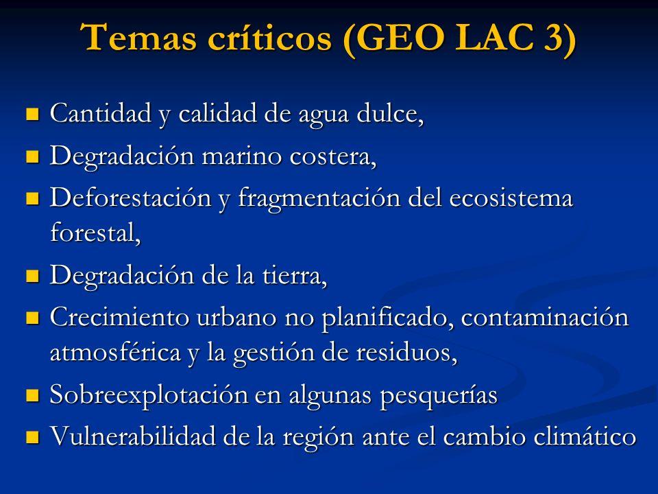 Temas críticos (GEO LAC 3) Cantidad y calidad de agua dulce, Cantidad y calidad de agua dulce, Degradación marino costera, Degradación marino costera,