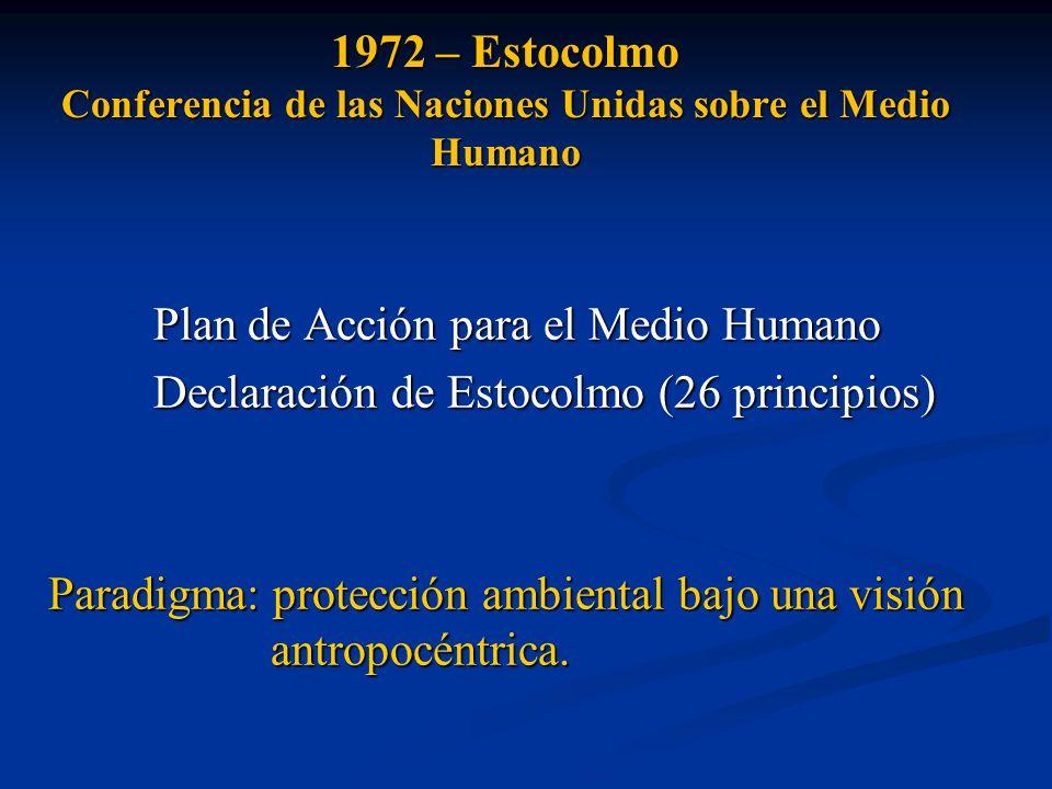 1972 – Estocolmo Conferencia de las Naciones Unidas sobre el Medio Humano Plan de Acción para el Medio Humano Declaración de Estocolmo (26 principios)