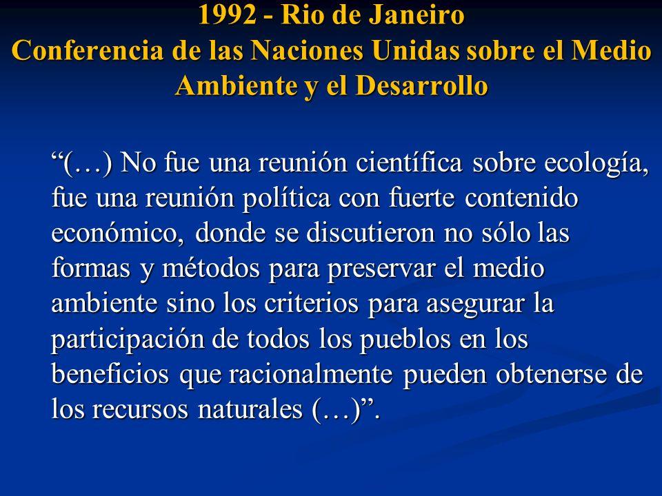 1992 - Rio de Janeiro CNUMAD Instrumentos jurídicamente vinculantes Instrumentos no vinculantes Paradigma: desarrollo sostenible, equidad intergeneracional.