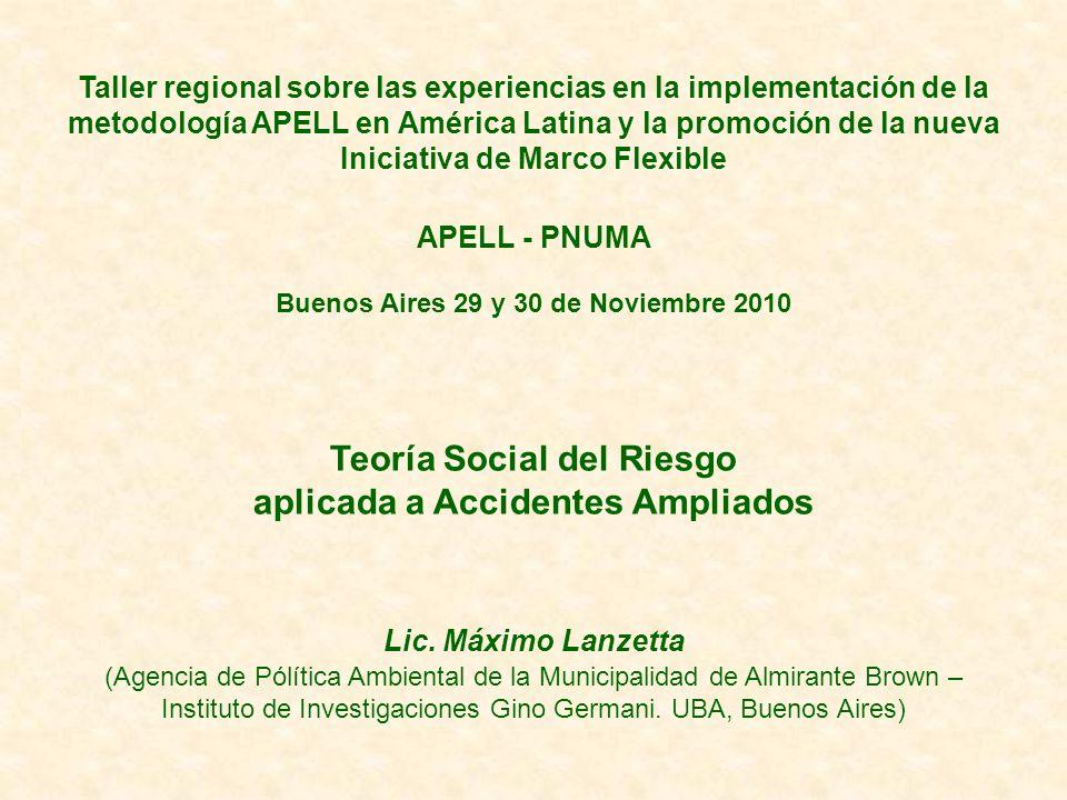 Taller regional sobre las experiencias en la implementación de la metodología APELL en América Latina y la promoción de la nueva Iniciativa de Marco F