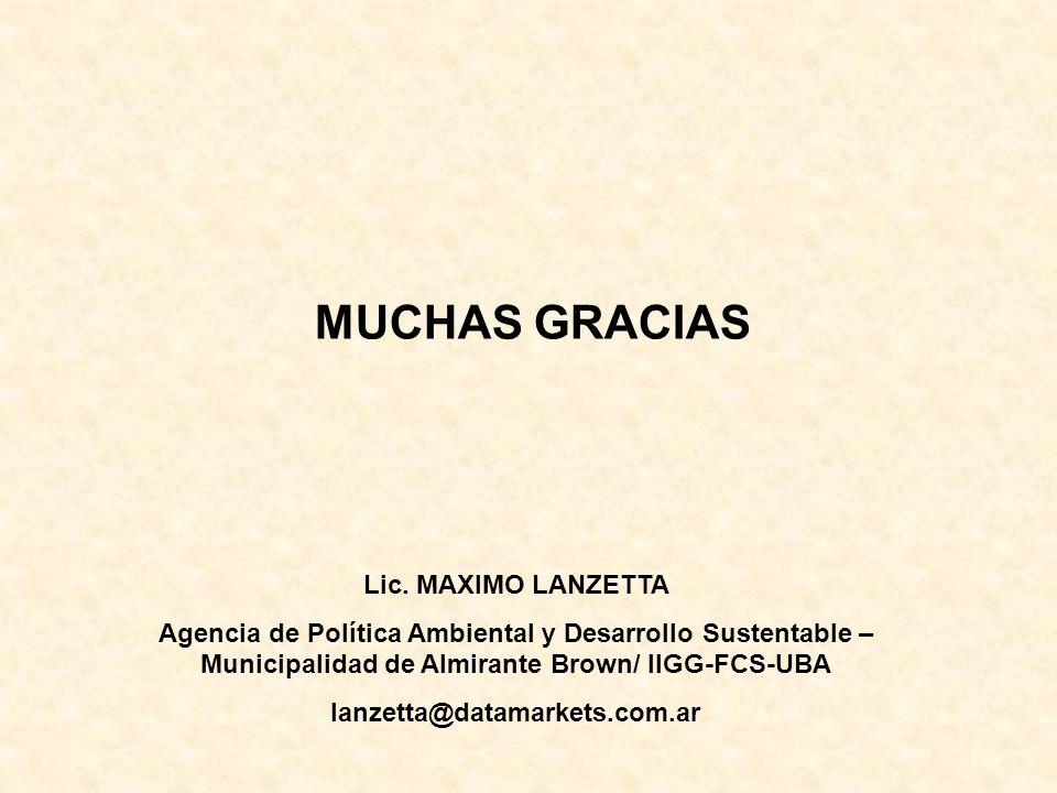 MUCHAS GRACIAS Lic. MAXIMO LANZETTA Agencia de Política Ambiental y Desarrollo Sustentable – Municipalidad de Almirante Brown/ IIGG-FCS-UBA lanzetta@d