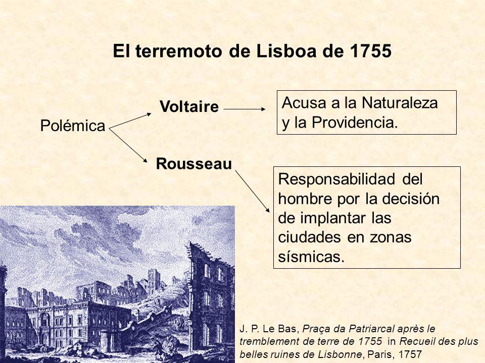 El terremoto de Lisboa de 1755 Polémica Voltaire Rousseau Acusa a la Naturaleza y la Providencia. Responsabilidad del hombre por la decisión de implan