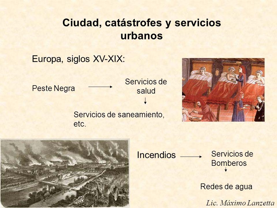Ciudad, catástrofes y servicios urbanos Europa, siglos XV-XIX: Peste Negra Servicios de salud Servicios de saneamiento, etc. Incendios Servicios de Bo