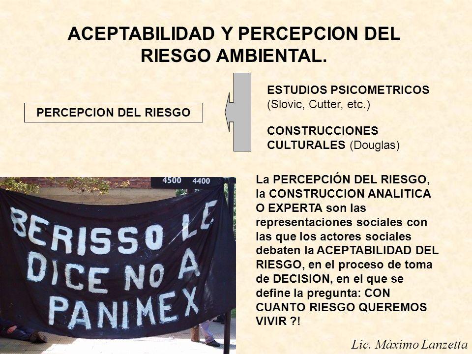 Lic. Máximo Lanzetta ACEPTABILIDAD Y PERCEPCION DEL RIESGO AMBIENTAL. PERCEPCION DEL RIESGO ESTUDIOS PSICOMETRICOS (Slovic, Cutter, etc.) CONSTRUCCION