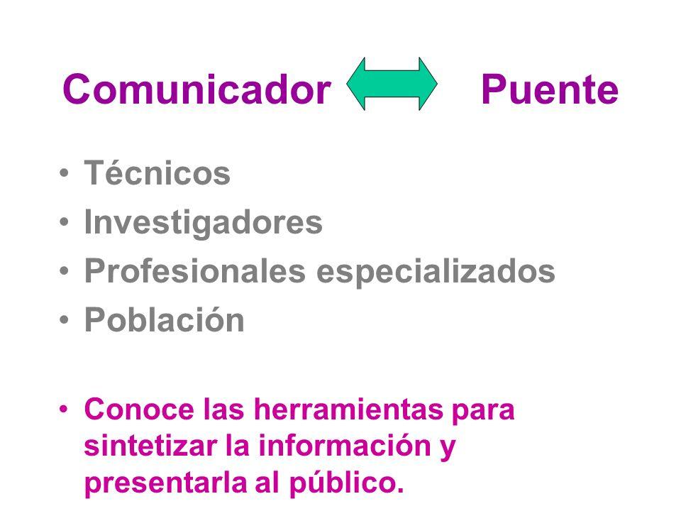 Comunicador Puente Técnicos Investigadores Profesionales especializados Población Conoce las herramientas para sintetizar la información y presentarla al público.