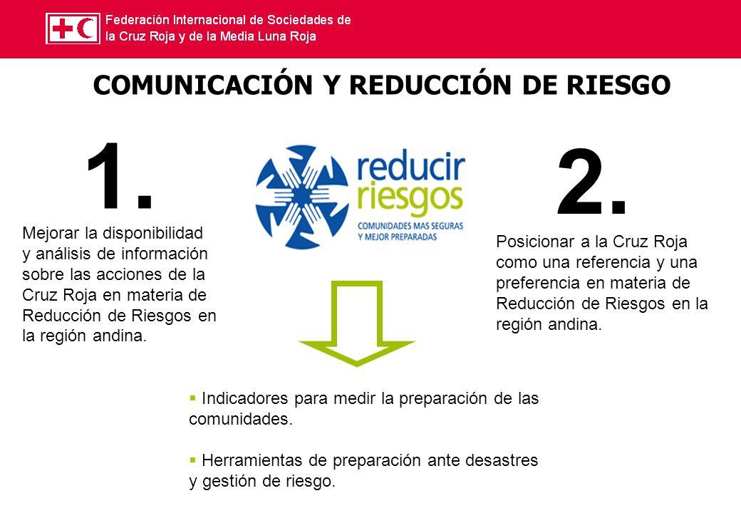 COMUNICACIÓN Y REDUCCIÓN DE RIESGO Mejorar la disponibilidad y análisis de información sobre las acciones de la Cruz Roja en materia de Reducción de Riesgos en la región andina.