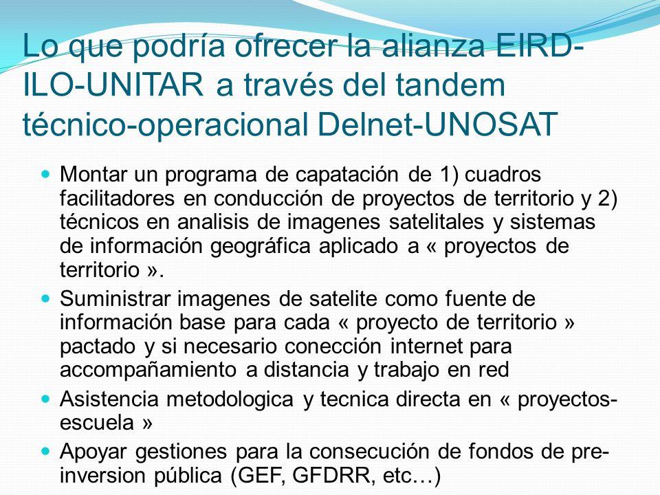 Lo que podría ofrecer la alianza EIRD- ILO-UNITAR a través del tandem técnico-operacional Delnet-UNOSAT Montar un programa de capatación de 1) cuadros