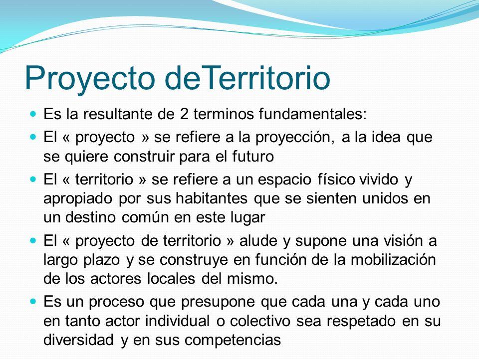 Proyecto deTerritorio Es la resultante de 2 terminos fundamentales: El « proyecto » se refiere a la proyección, a la idea que se quiere construir para
