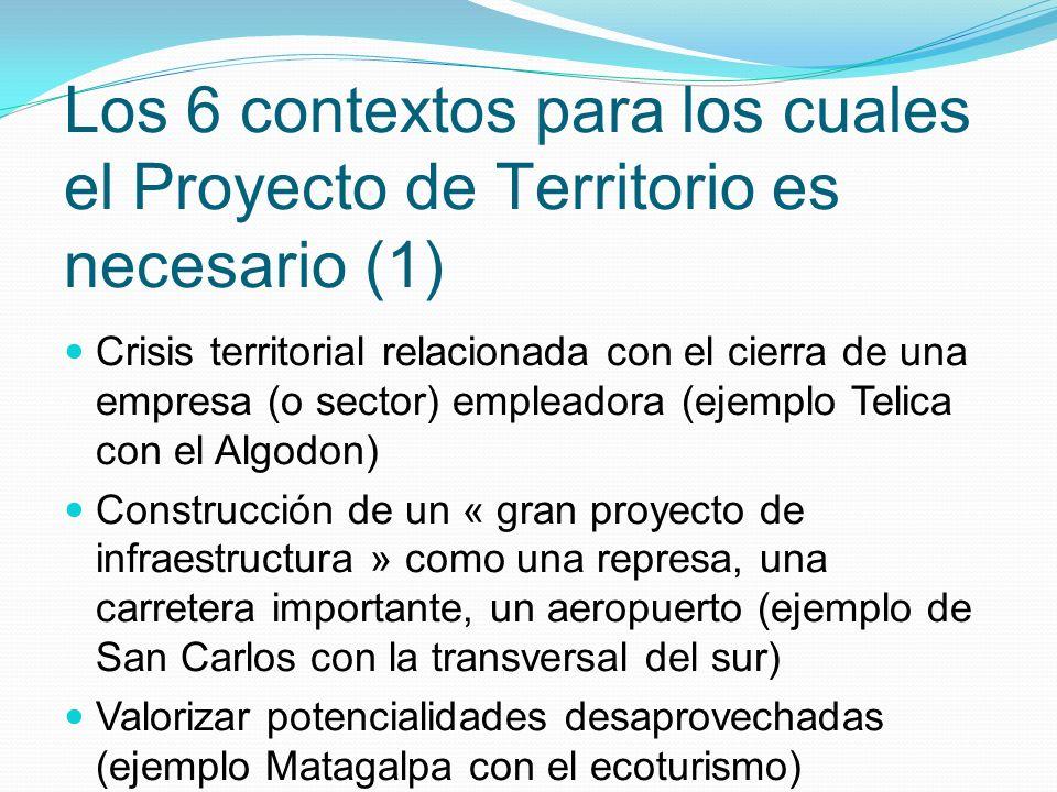 Crisis territorial relacionada con el cierra de una empresa (o sector) empleadora (ejemplo Telica con el Algodon) Construcción de un « gran proyecto d