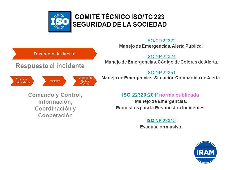 COMITÉ TÉCNICO ISO/TC 223 SEGURIDAD DE LA SOCIEDAD Respuesta al incidente Comando y Control, Información, Coordinación y Cooperación ISO/CD 22322 ISO/