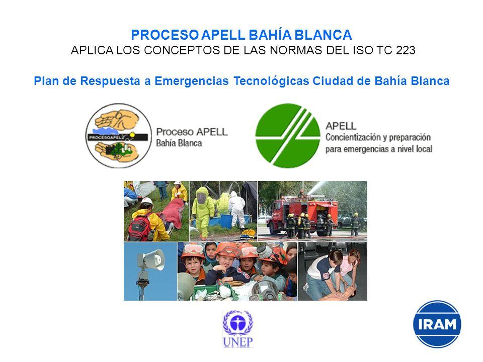 PROCESO APELL BAHÍA BLANCA APLICA LOS CONCEPTOS DE LAS NORMAS DEL ISO TC 223 Plan de Respuesta a Emergencias Tecnológicas Ciudad de Bahía Blanca