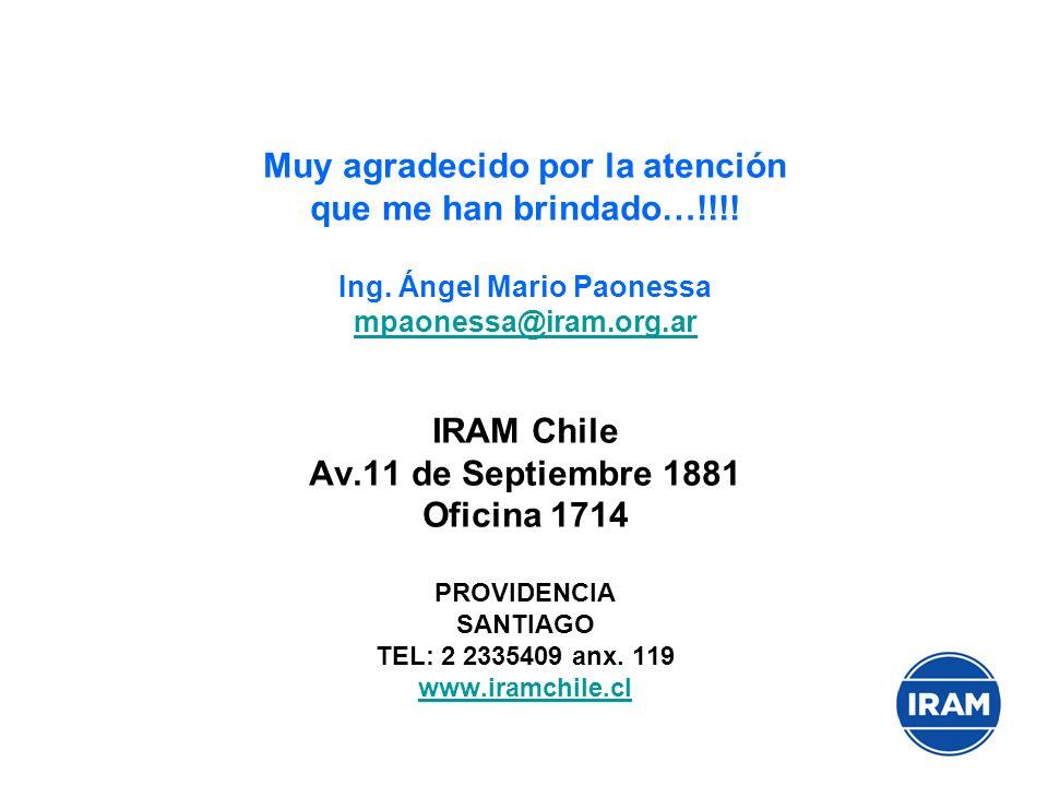 Muy agradecido por la atención que me han brindado…!!!! Ing. Ángel Mario Paonessa mpaonessa@iram.org.ar IRAM Chile Av.11 de Septiembre 1881 Oficina 17