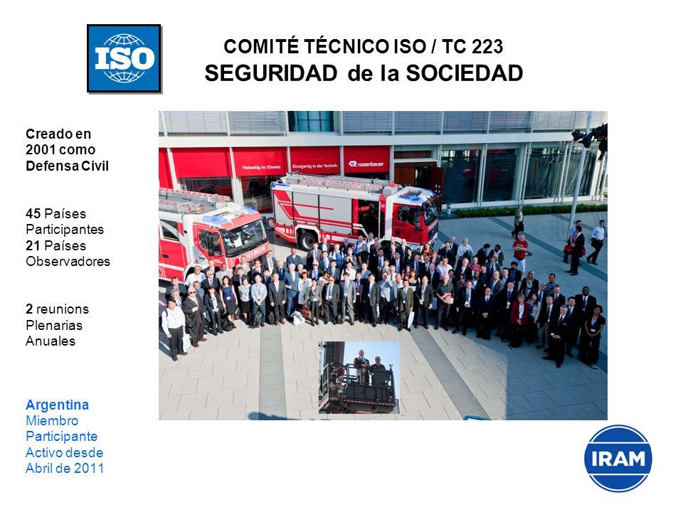 COMITÉ TÉCNICO ISO / TC 223 SEGURIDAD de la SOCIEDAD Creado en 2001 como Defensa Civil 45 Países Participantes 21 Países Observadores 2 reunions Plena