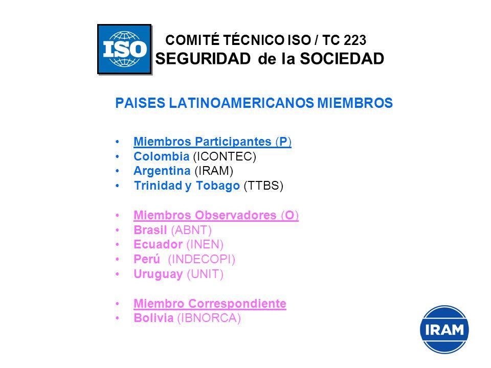 PAISES LATINOAMERICANOS MIEMBROS Miembros Participantes (P) Colombia (ICONTEC) Argentina (IRAM) Trinidad y Tobago (TTBS) Miembros Observadores (O) Bra