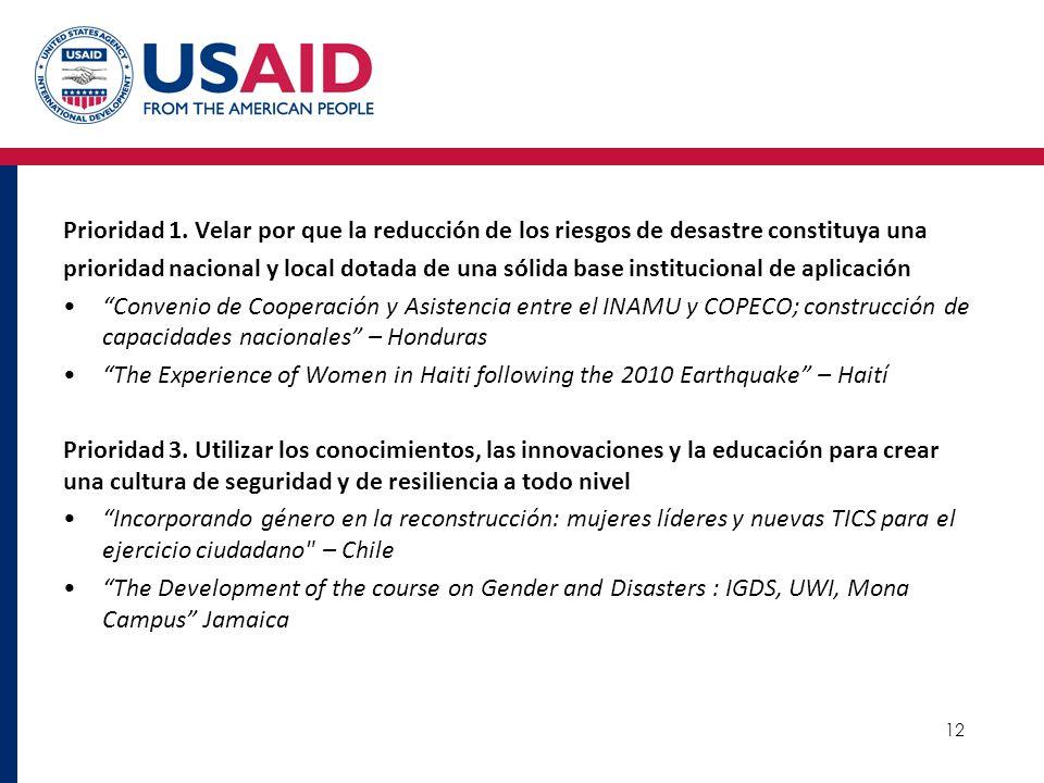 12 Prioridad 1. Velar por que la reducción de los riesgos de desastre constituya una prioridad nacional y local dotada de una sólida base instituciona