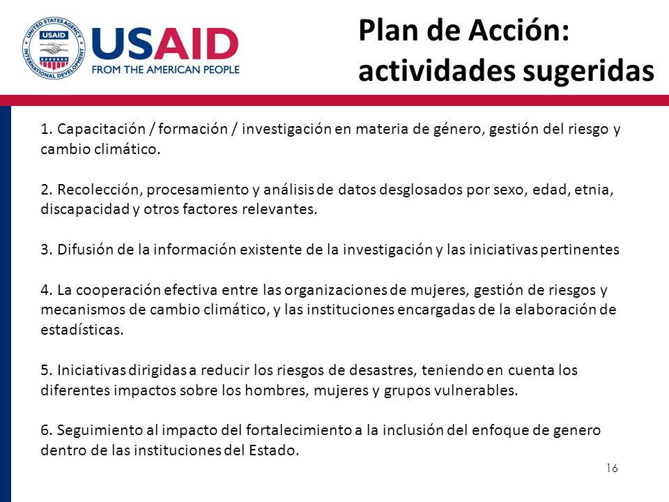 16 Plan de Acción: actividades sugeridas 1. Capacitación / formación / investigación en materia de género, gestión del riesgo y cambio climático. 2. R