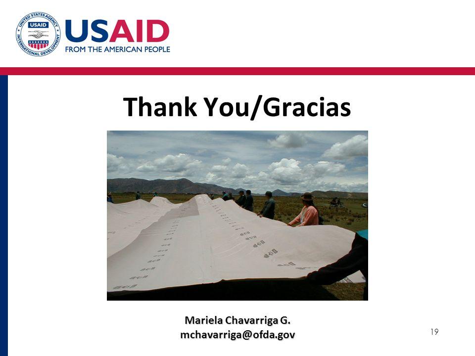 19 Thank You/Gracias Mariela Chavarriga G. mchavarriga@ofda.gov