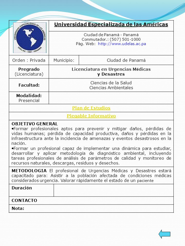 Universidad Especializada de las Am é ricas Ciudad de Panam á - Panam á Conmutador.: (507) 501-1000 P á g. Web: http://www.udelas.ac.pa Orden : Privad