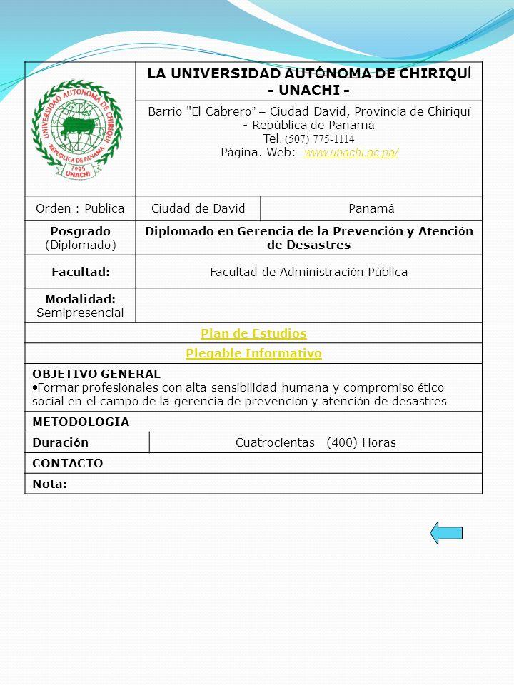 LA UNIVERSIDAD AUT Ó NOMA DE CHIRIQU Í - UNACHI - Barrio