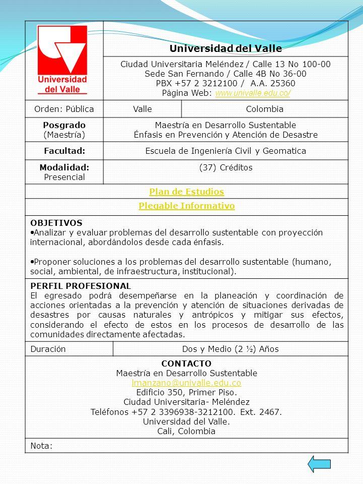 Universidad del Valle Ciudad Universitaria Meléndez / Calle 13 No 100-00 Sede San Fernando / Calle 4B No 36-00 PBX +57 2 3212100 / A.A. 25360 P á gina