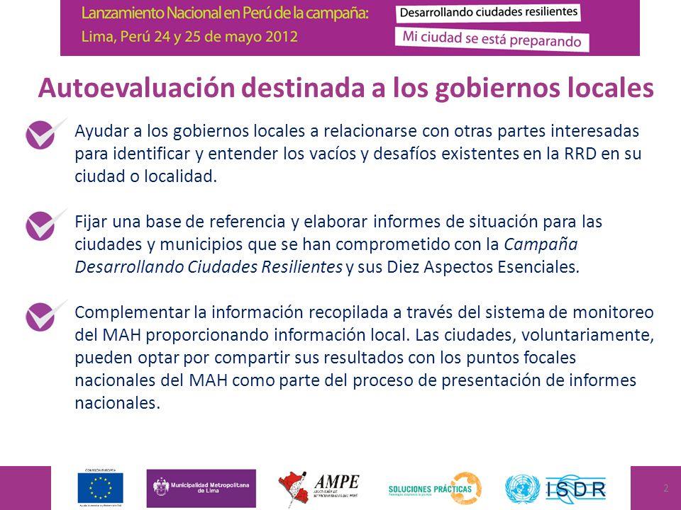 Ayudar a los gobiernos locales a relacionarse con otras partes interesadas para identificar y entender los vacíos y desafíos existentes en la RRD en su ciudad o localidad.