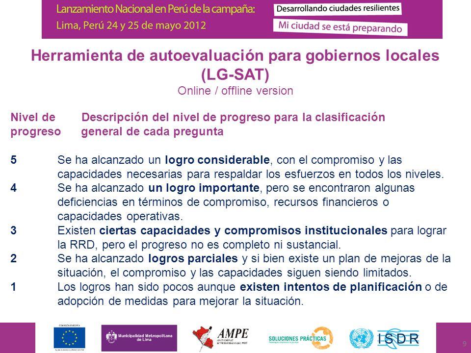 Herramienta de autoevaluación para gobiernos locales (LG-SAT) Online / offline version Nivel de Descripción del nivel de progreso para la clasificació