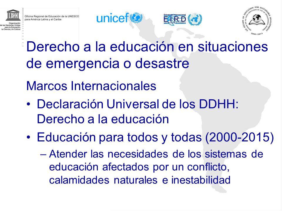 Educación en la respuesta humanitaria en situaciones de desastres y emergencias Relator Especial de las N.N.U.U.