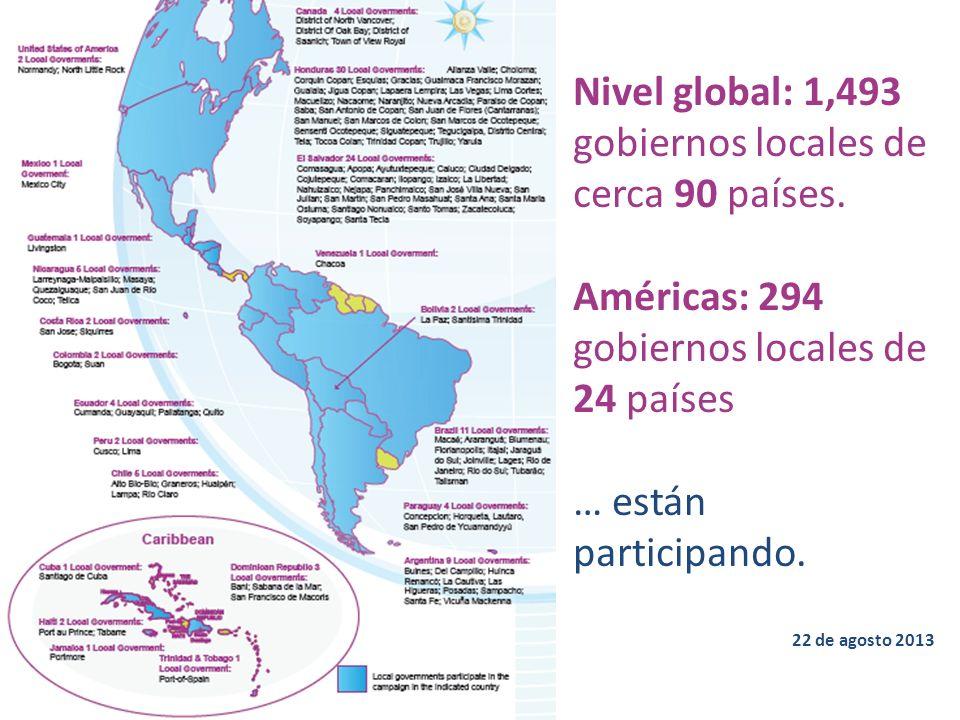 Nivel global: 1,493 gobiernos locales de cerca 90 países. Américas: 294 gobiernos locales de 24 países … están participando. 22 de agosto 2013