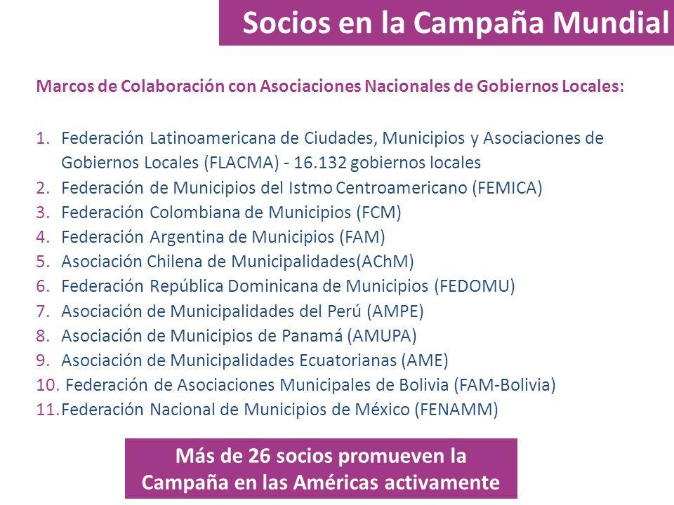 Socios en la Campaña Mundial Marcos de Colaboración con Asociaciones Nacionales de Gobiernos Locales: 1.Federación Latinoamericana de Ciudades, Munici