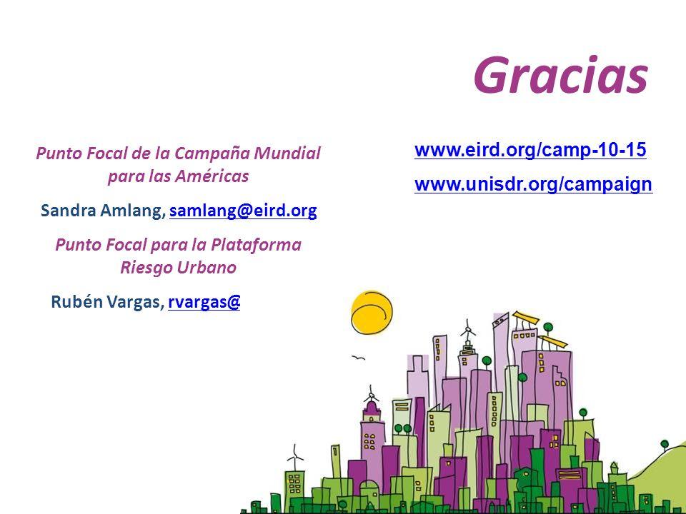 www.eird.org/camp-10-15 www.unisdr.org/campaign Gracias Punto Focal de la Campaña Mundial para las Américas Sandra Amlang, samlang@eird.orgsamlang@eir