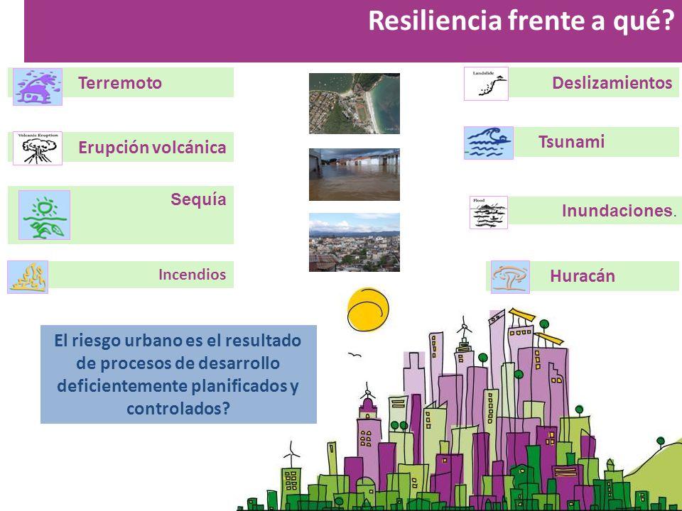 Resiliencia frente a qué? Terremoto Erupción volcánica Deslizamientos Huracán Tsunami Incendios Inundaciones. Sequía El riesgo urbano es el resultado