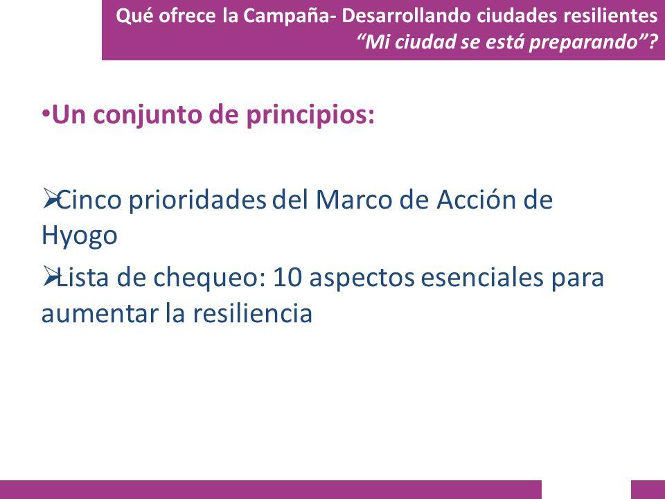 Un conjunto de principios: Cinco prioridades del Marco de Acción de Hyogo Lista de chequeo: 10 aspectos esenciales para aumentar la resiliencia Qué of