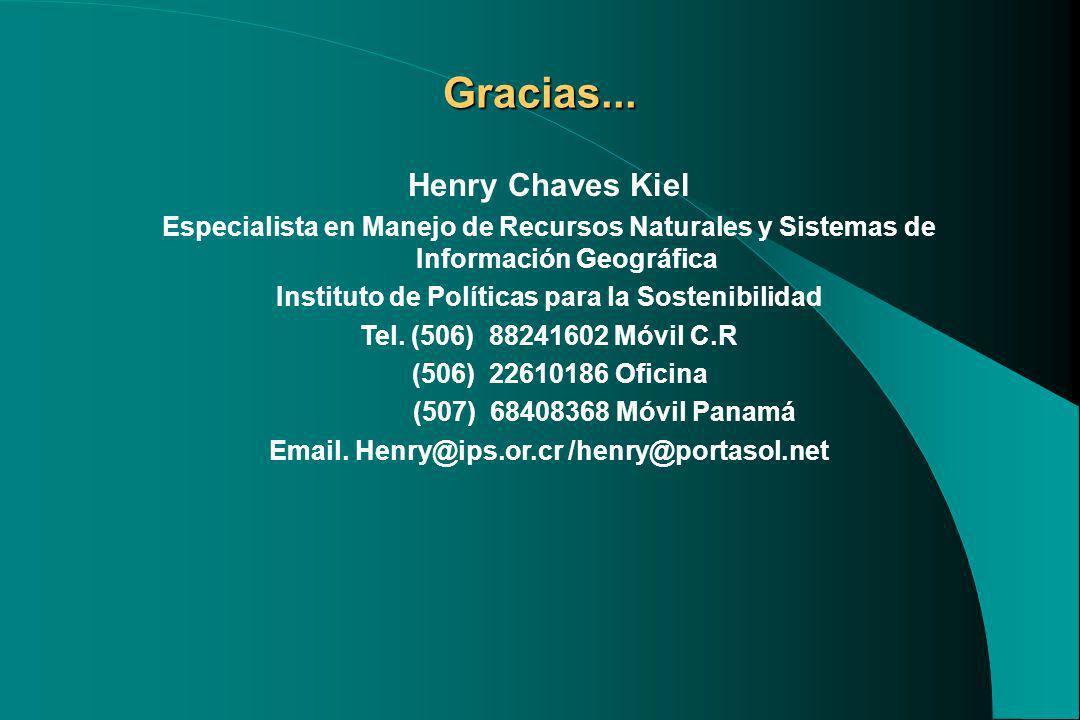 Henry Chaves Kiel Especialista en Manejo de Recursos Naturales y Sistemas de Información Geográfica Instituto de Políticas para la Sostenibilidad Tel.