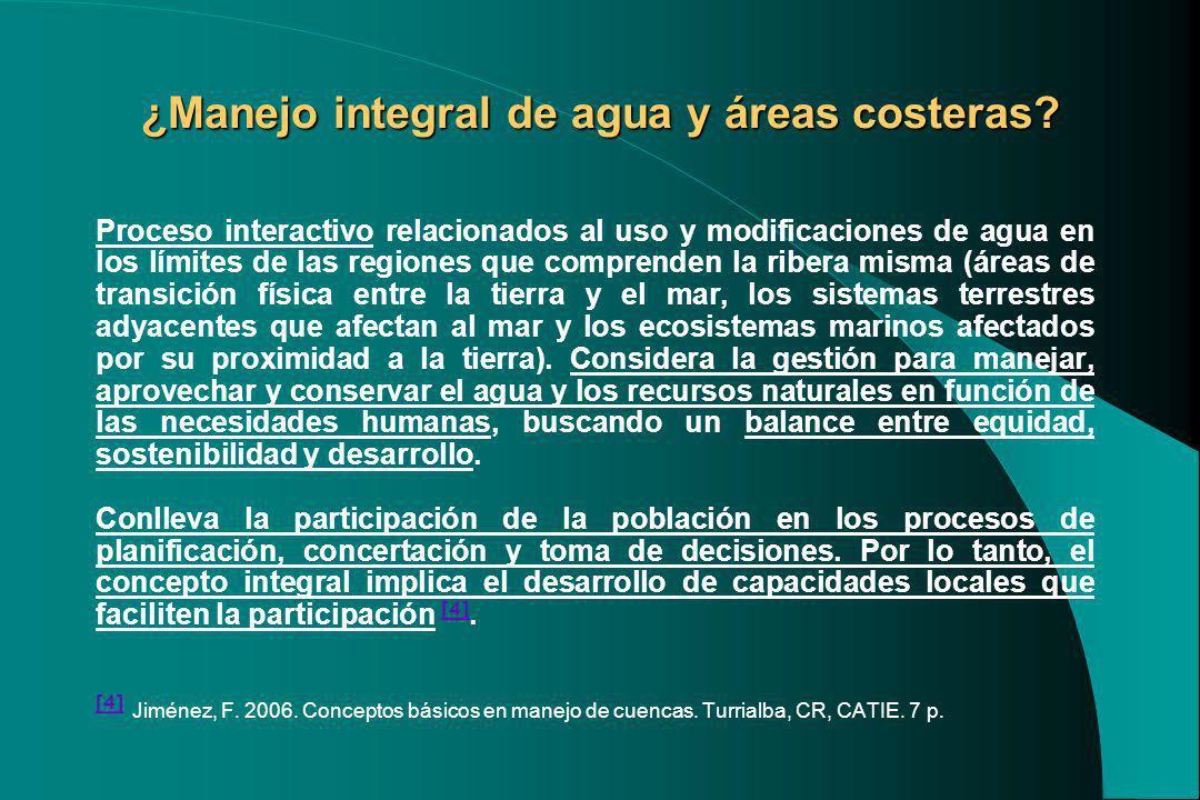 ¿Manejo integral de agua y áreas costeras? Proceso interactivo relacionados al uso y modificaciones de agua en los límites de las regiones que compren