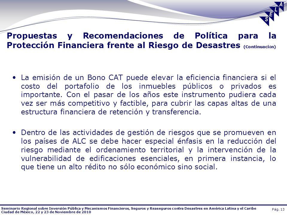 Seminario Regional sobre Inversión Pública y Mecanismos Financieros, Seguros y Reaseguros contra Desastres en América Latina y el Caribe Ciudad de Méx