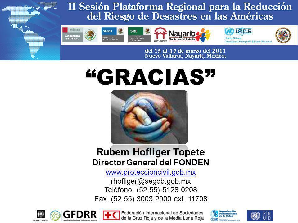 GRACIAS Rubem Hofliger Topete Director General del FONDEN www.proteccioncivil.gob.mx rhofliger@segob.gob.mx Teléfono. (52 55) 5128 0208 Fax. (52 55) 3