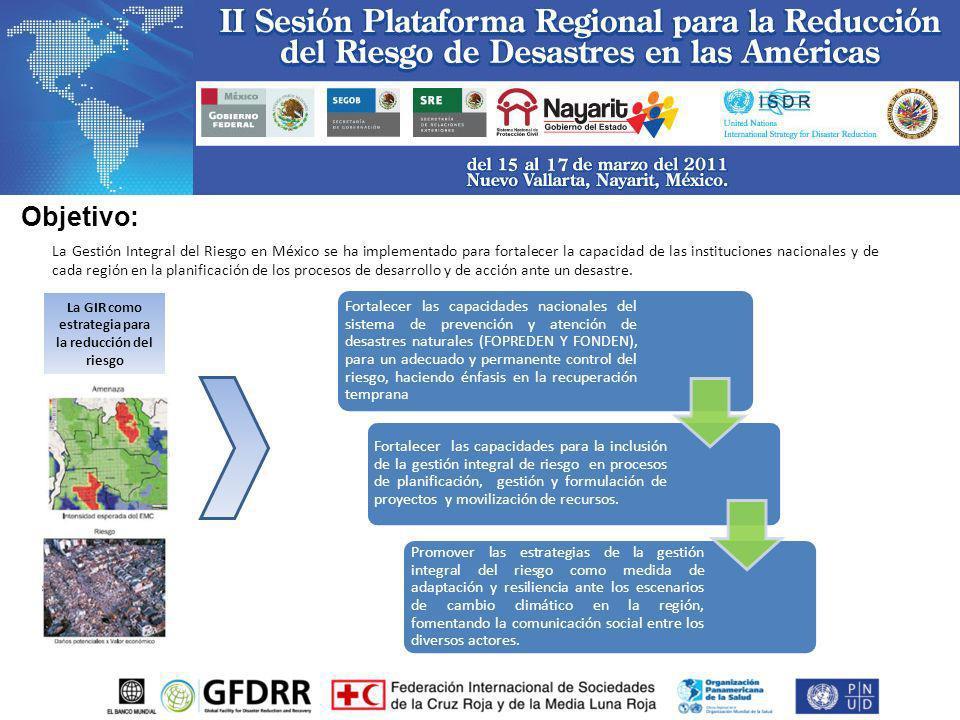 La Gestión Integral del Riesgo en México se ha implementado para fortalecer la capacidad de las instituciones nacionales y de cada región en la planif