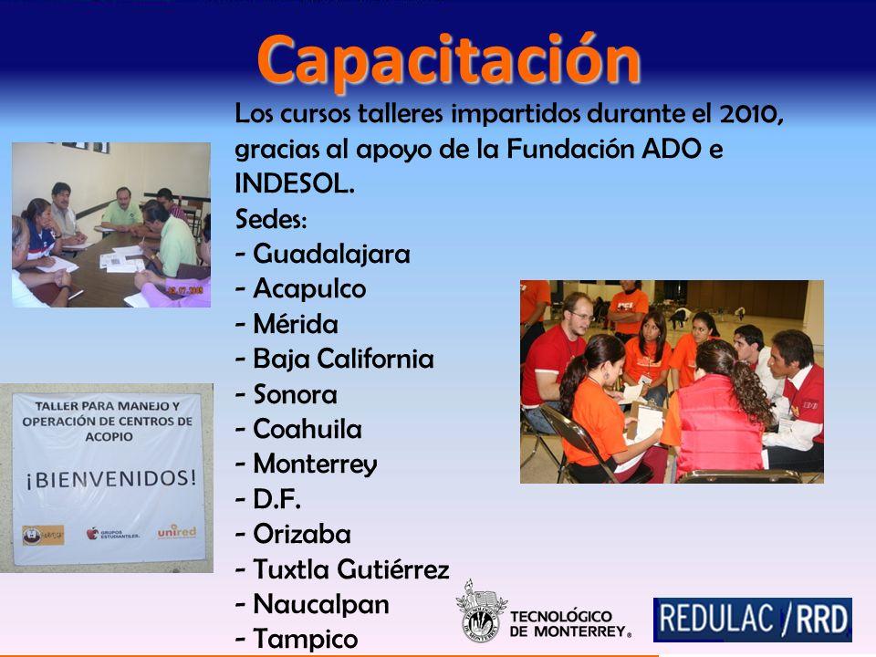 Los cursos talleres impartidos durante el 2010, gracias al apoyo de la Fundación ADO e INDESOL.
