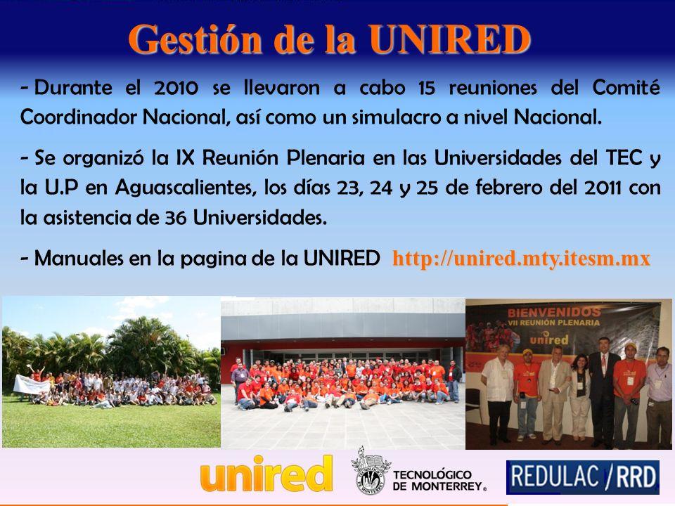 Gestión de la UNIRED - Durante el 2010 se llevaron a cabo 15 reuniones del Comité Coordinador Nacional, así como un simulacro a nivel Nacional.