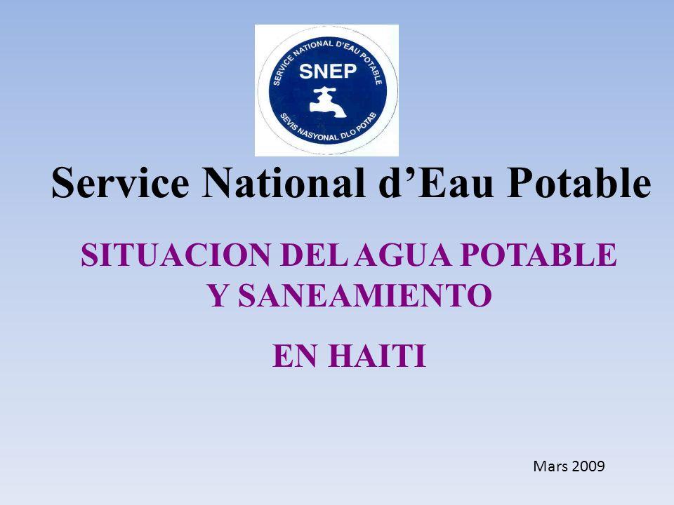 SITUACION DEL AGUA POTABLE Y SANEAMIENTO EN HAITI Service National dEau Potable Mars 2009