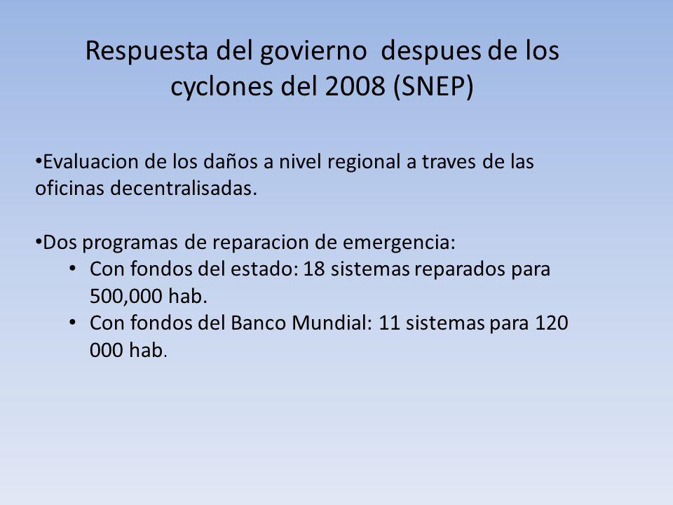 Respuesta del govierno despues de los cyclones del 2008 (SNEP) Evaluacion de los daños a nivel regional a traves de las oficinas decentralisadas. Dos