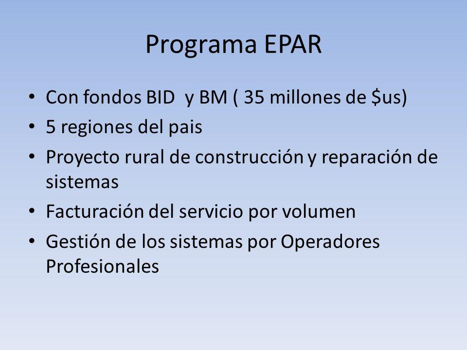 Programa EPAR Con fondos BID y BM ( 35 millones de $us) 5 regiones del pais Proyecto rural de construcción y reparación de sistemas Facturación del se