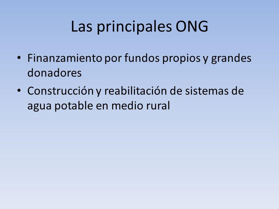 Las principales ONG Finanzamiento por fundos propios y grandes donadores Construcción y reabilitación de sistemas de agua potable en medio rural