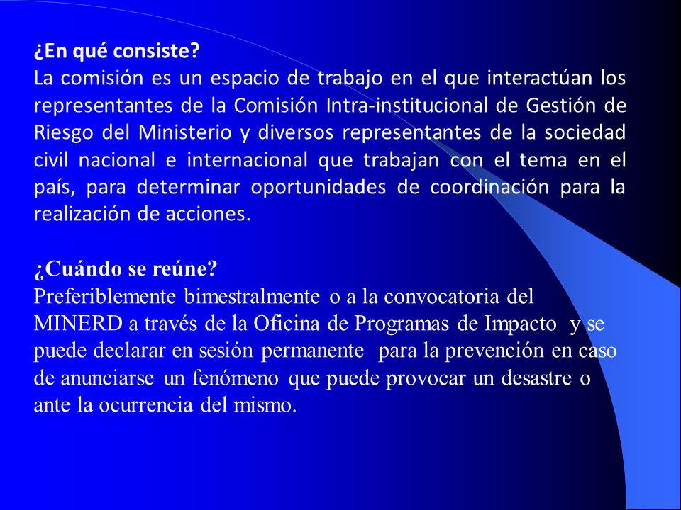 ¿En qué consiste? La comisión es un espacio de trabajo en el que interactúan los representantes de la Comisión Intra-institucional de Gestión de Riesg