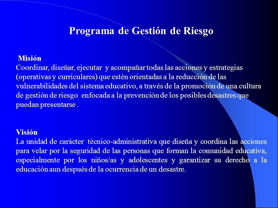 Programa de Gestión de Riesgo Misión Coordinar, diseñar, ejecutar y acompañar todas las acciones y estrategias (operativas y curriculares) que estén o